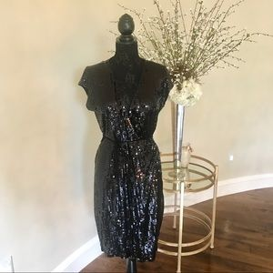 Michael Kors Black Sequined Wrap Dress